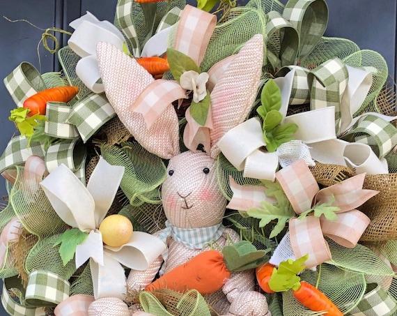 Easter Wreath-Easter Wreath With Bunny, Spring Wreath-Easter Egg- Deco Mesh Wreath, Spring Front Door Wreath, Sassy Doors Wreath