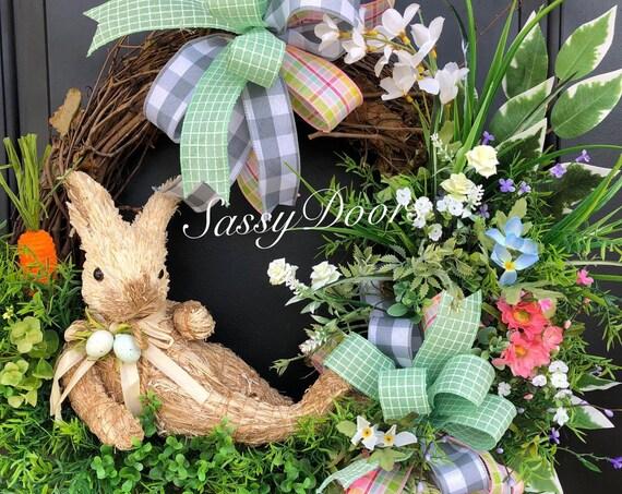 Easter Wreath, Bunny Wreath- Easter Front Door Wreath, Sassy Doors Wreath, Easter Grapevine Wreath, Carrot Wreath