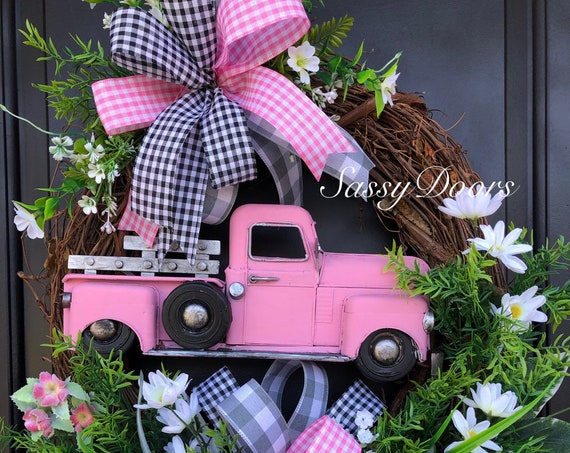 Pink Truck Wreath- Spring Truck Wreath - Summer Truck Wreath - Farmhouse Truck Wreath- Wreath With Pink- Wreath With Truck SassyDoors Wreath