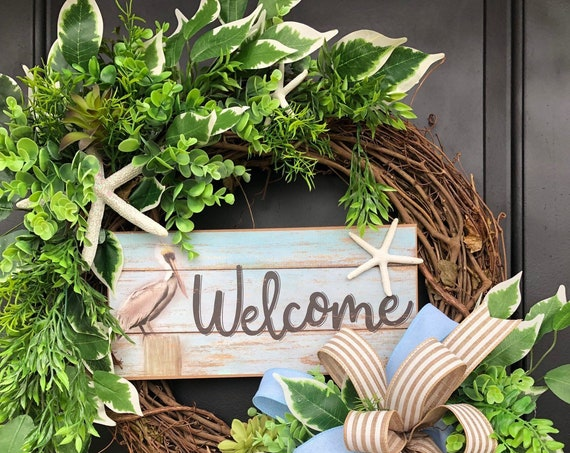Beach Wreath, Nautical Wreath, Everyday  Coastal Wreath, Pelican Wreath, Beach Wreath For Front Door, Sassy Doors Wreath, Coastal Wreath