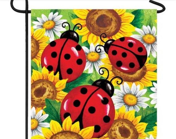 Lady Bug Garden Flag- Sunflower Flag- Sunflowers and Lady Bug Flag- Whimsical Garden Flag- Free Shipping
