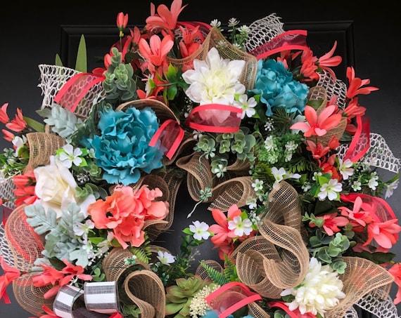Hydrangea  Wreaths, Wreath For Front Door,Grapevine Wreath,  Sassy Doors Wreath, Coastal Door Wreath,