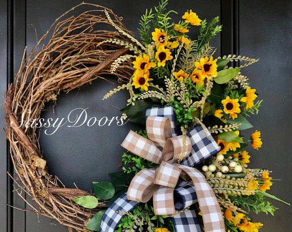 Sunflower Summer Wreath, Sunflower Wreath, Summer Wreath, Front Door Wreath, SassyDoors Wreath,