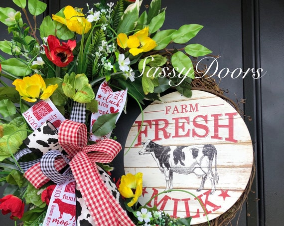 Farmhouse Wreath- Wreath For Front Door- Wreath With Cow , Everyday Wreath- Farm Wreath