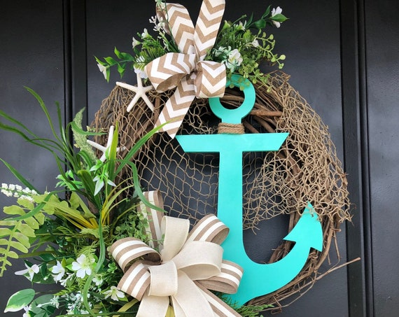 Beach Wreath, Nautical Wreath, Everyday  Coastal Wreath, Anchor Wreath, Beach Wreath For Front Door, Sassy Doors Wreath, Coastal Wreath