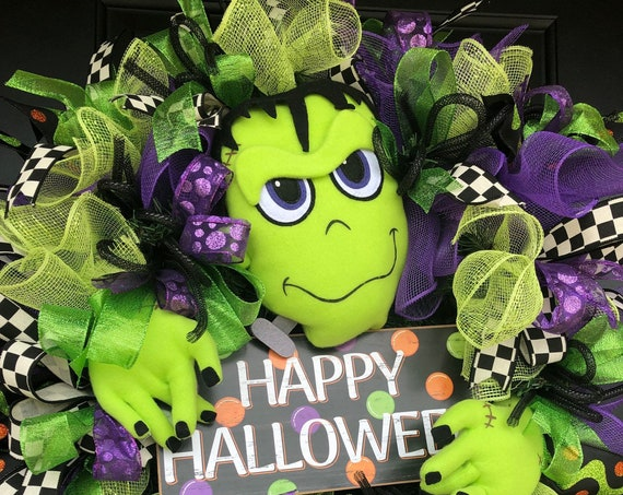 Halloween Wreath, Frankenstein Wreath, Monster Wreath, Halloween Front Door Wreath, SassyDoors Wreaths