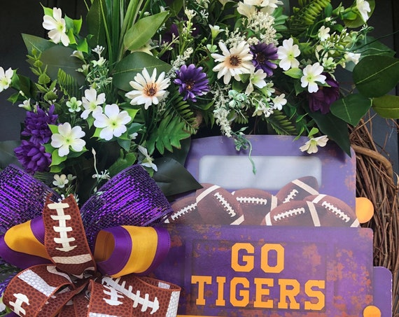 Louisiana Tigers, LSU Wreath, Sports Fan Wreath, College Sports, LSU  Alumni , LSU Student Wreath