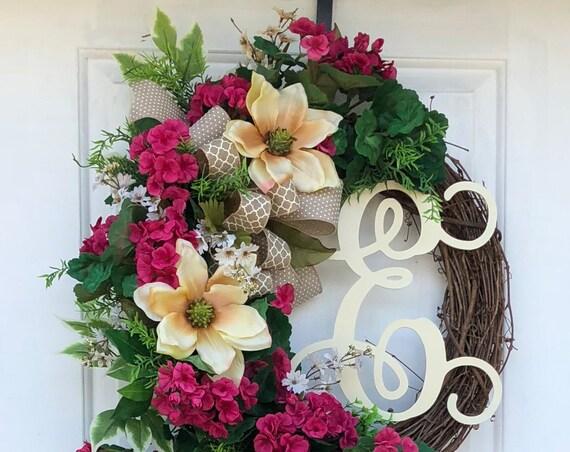 Monogram Wreath- Everyday Wreath-Grapevine Wreath-Wreath For Front Door- Bridal Gift, Wreath-Sassy DoorsWreath,Monogram Wreaths,