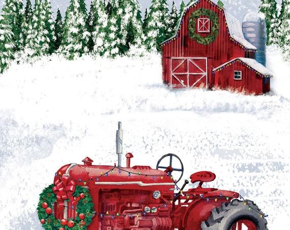 Red Barn And Tractor  Christmas House  Flag- Christmas Flag- Red Tractor Flag- Farmhouse House Flag- Christmas