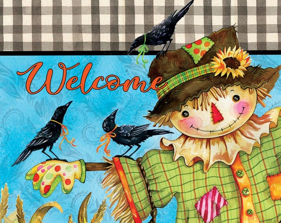 Scarecrow Flag, Fall  Flag, Garden Flag, Fall Garden Flag, Custom Decor flag, Sassy Doors