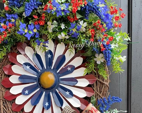 Patriotic Wreath, Memorial Day Wreath, Veterans Day Wreath, Military Wreath, Summer Wreaths