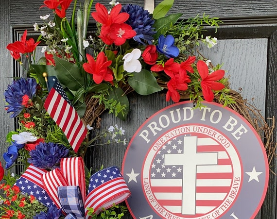 Patriotic Wreath,  Military Wreath , Memorial Day Wreath, July 4th Wreath, Americana Wreath, American Pride Wreath, Veterans Day Wreath,