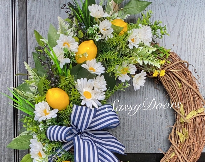 Summer Wreaths, Lemon Wreath, Grapevine Wreath, SassyDoors Wreath,