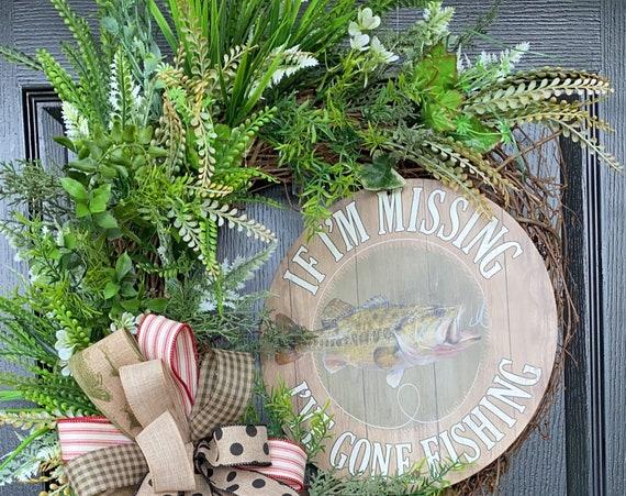Fishing Wreath, Lake House Door Wreath, Lake House Wreath, Grapevine Wreath,Lake Wreath, SassyDoors ,