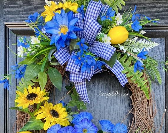 Sunflower Wreaths, Lemon Wreath With Sunflowers, Down Syndrome Awareness, Front Door Wreath, Sassy Doors Wreath