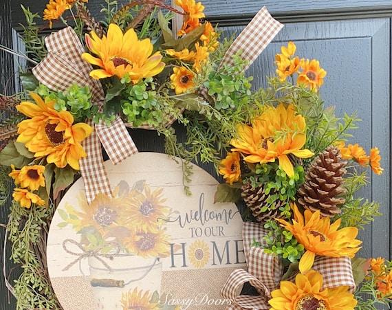 Sunflower Wreaths, Wreath With Sunflowers, Front Door Wreath, Sassy Doors Wreath