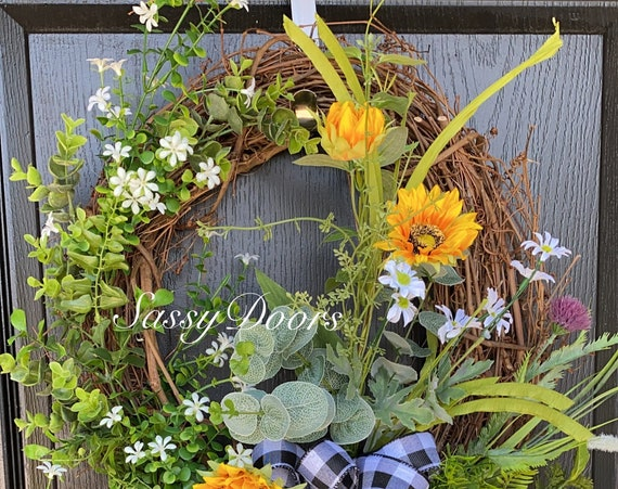Sunflower Wreaths, Wreath With Sunflowers, Spring And Summer Front Door Wreath, Sassy Doors Wreath