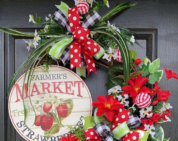 Summer Wreath, Strawberry Wreath, Farmhouse Wreath, SassyDoors Wreath,