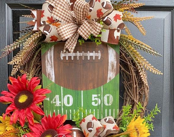 Football Wreath, Sports Wreath ,Personalized Fall Sports Wreath, Fall Grapevine Wreath- Sassy Doors Wreath- Front Door Wreath-