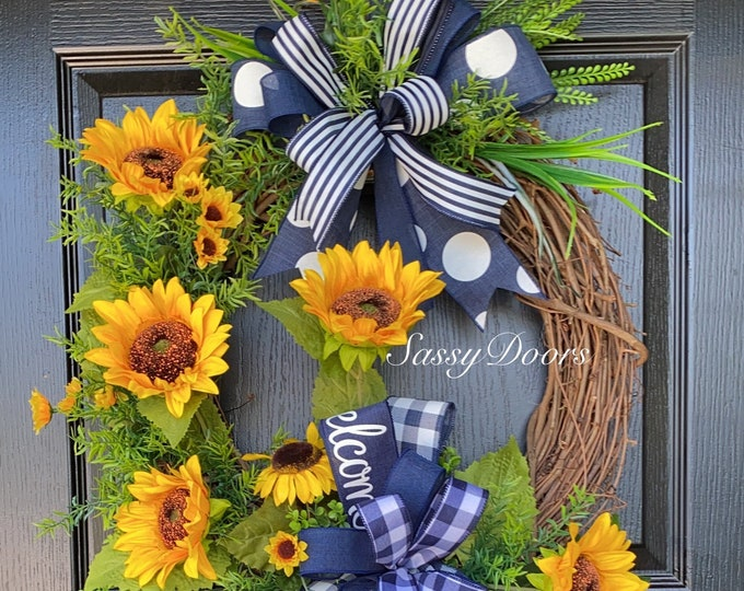 Sunflower Wreaths, Wreath With Sunflowers, Spring And Summer Front Door Wreath, Sassy Doors Wreath
