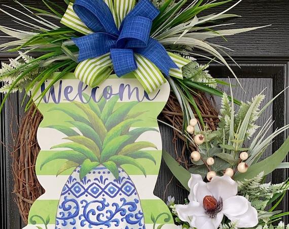 Summer Pineapple Wreath- Pineapple Wreath -Magnolia Wreath, SassyDoors Wreath, Grapevine Wreath, Front Door Wreath, Beach Wreath
