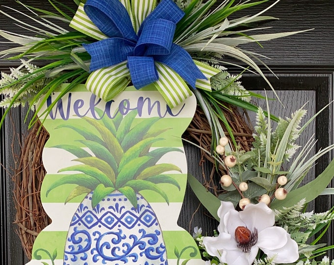 Summer Pineapple Wreath- Pineapple Wreath -Magnolia Wreath, SassyDoors Wreath, Grapevine Wreath, Front Door Wreath, Beach Wreath