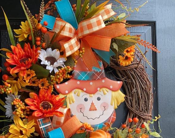 Fall Scarecrow Wreath, Sunflower Wreath, Scarecrow Sunflower Wreath, Fall Wreath, Sunflower Front Door Wreath, Sassy Doors Wreath,