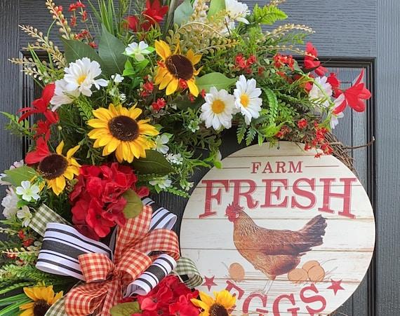 Farmhouse Wreath- Wreath For Front Door- Wreath With  Hen , Everyday Wreath- Farm Wreath
