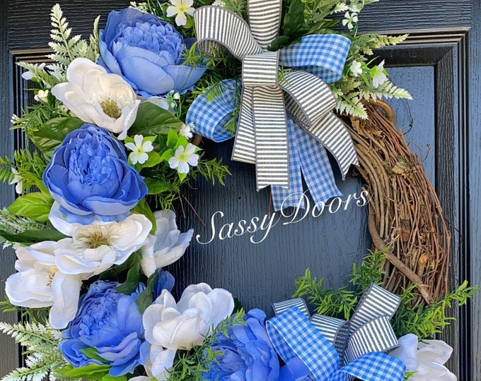 Blue Peonies Wreath, Magnolia Wreath, Southern Front Door Wreath, Magnolia Wreath, Everyday Wreath, Sassy Doors Wreath