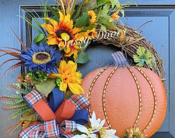 Fall Wreath, Sunflower Wreath, Fall Pumpkin Wreath, Front Door Wreath, Navy Blue Wreath, SassyDoors Wreath