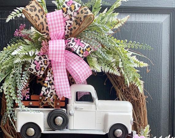 Truck Wreath, Pink Truck Wreath ,Breast Cancer Awareness Wreath, White Truck Wreath,