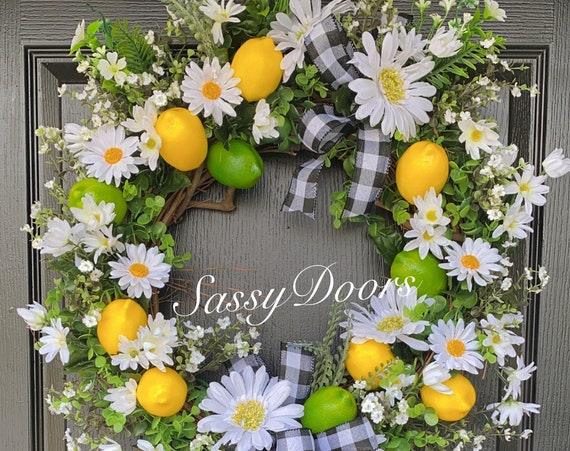Summer Wreaths, Lemon Wreath, Daisies And Lemon Wreath, Grapevine Wreath, SassyDoors Wreath,