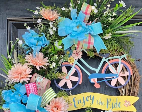 Bicycle Wreath, Wreath For Front Door,Grapevine Wreath,  Sassy Doors Wreath, Summer Door Wreath, Coastal Wreaths