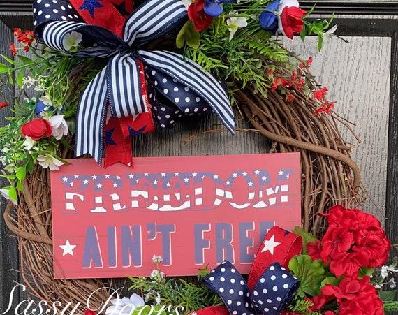 Patriotic Wreath, July4th Wreath, USA Patriotic Wreath, Memorial Day  Wreath,Veterans Day Wreath