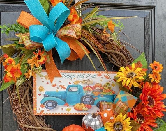 Fall Truck Wreath- Farmhouse Wreath-Fall Truck Front Door Wreath- Farmhouse Wreath- Sunflower Wreath- Sassy Doors Wreath
