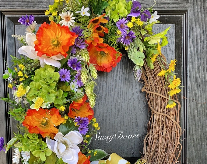 Hydrangea Wreath, Spring And Summer Wreath For Front Door, Mother's Day Gift, SassyDoors Wreath,