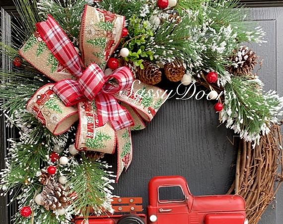 Red Truck Christmas Wreath, Grapevine Christmas Wreath, Rustic Wreath, Farmhouse Christmas Wreath, Sassy Doors Wreath,