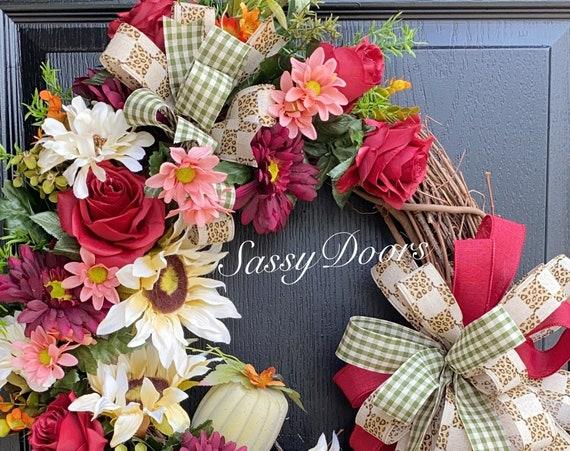 Fall Wreath-Pumpkin Wreath, Sunflower Wreath, Front Door Wreath, Fall Pumpkin Wreath, SassyDoors Wreath, Sunflower Wreaths