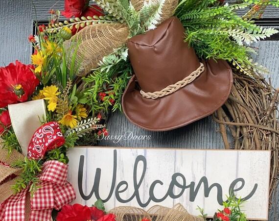 Cowboy Wreath - Western Wreath Father's Day, Wreath - Ranch Wreath,Guy Friendly Wreath
