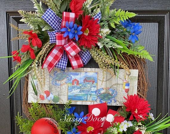 Coastal Wreath, Summer Wreaths,Beach Life Wreath, Beach Wreath For Front Door, Sassy Doors Wreath, Nautical Wreath, Crab Wreath