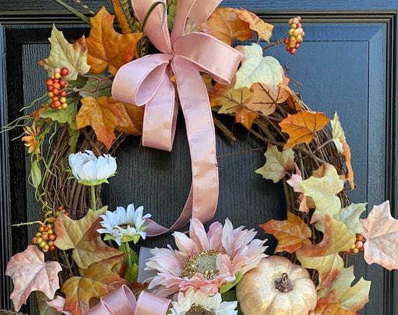 Pink Fall Wreath, Fall Door Wreath, Fall Pumpkin Wreath, Pink Wreath, SassyDoors Wreath