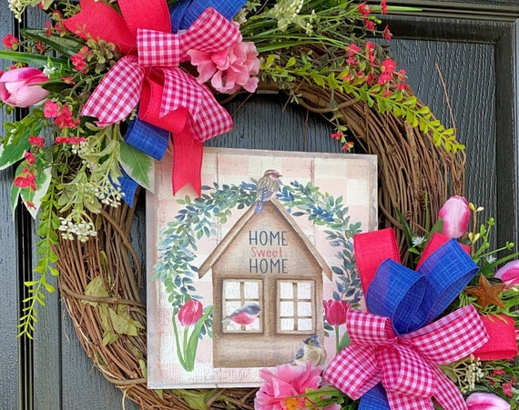 Spring And Summer Wreath- Mother's Day Wreath, Home Sweet Home Wreath-Spring And Summer Front Door Wreath, Mothers Day Gift Idea