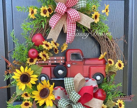 Red Truck Wreath, Apple Wreath, Farmhouse Truck Wreath, Truck Wreath, Sassy Doors Wreaths,
