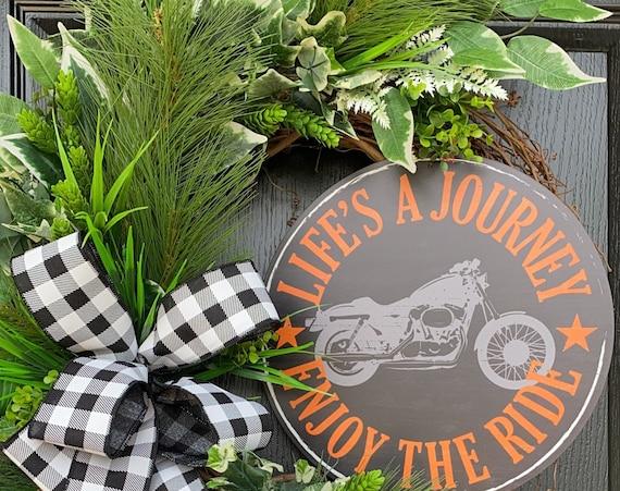Motorcycle Wreath, Everyday Grapevine Wreath, Gift For Him Wreaths, Lake Wreath, Cabin Wreath, Sassy Doors Wreath,