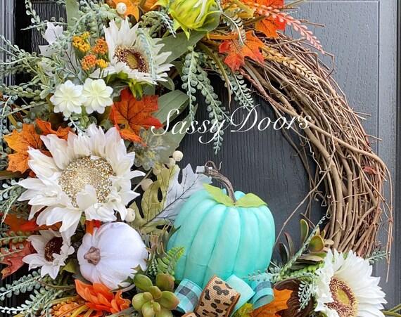 Fall Door Wreath, Pumpkin Door Wreath, Coastal Fall Wreath, SassyDoors Wreath, Sunflower Wreath