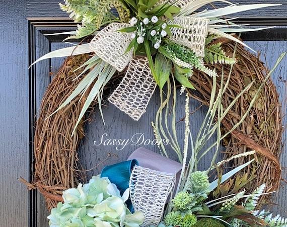 Succulent Wreath, Nautical Wreath, Everyday  Coastal Wreath, Succulent Wreath, Wreath For Front Door, Sassy Doors Wreath, Coastal Wreath