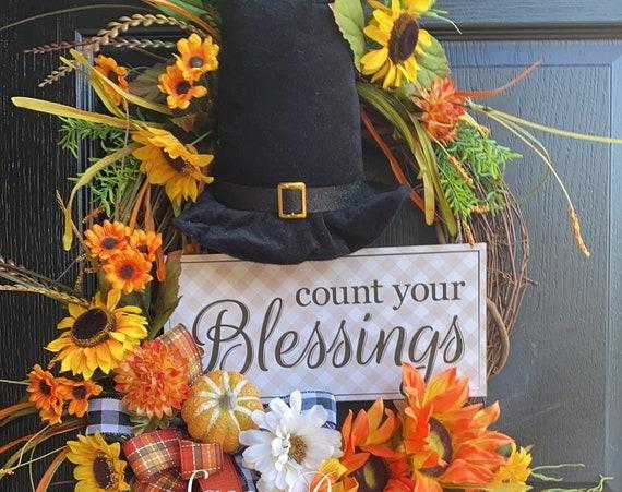 Pilgrim Wreath, Thanksgiving Wreath, Fall Wreaths, Sassy Doors Wreath, Wreath For Front Door, Fall Decor