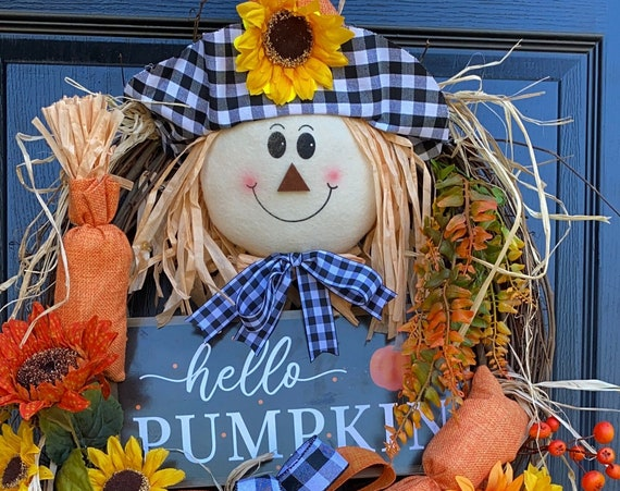 Fall Wreath, Scarecrow Wreath,  Farmhouse Fall Wreath,  Pumpkin Wreath, Sunflower Door Wreath, Front door wreath, Sassy Doors Wreath