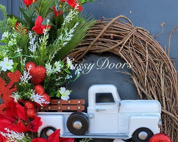 Valentine Wreath, White Truck Valentine's Wreath,Valentine Hearts  Wreath, Sassy Door Wreath,