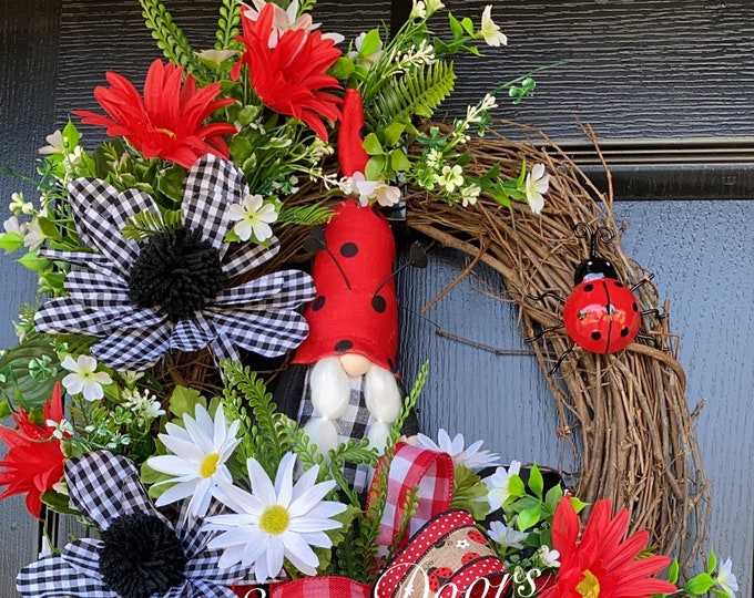 Gnome Wreath, Ladybug Door Wreath, Gnome Wreath, Wreath With Ladybugs, Sassy Doors Wreath